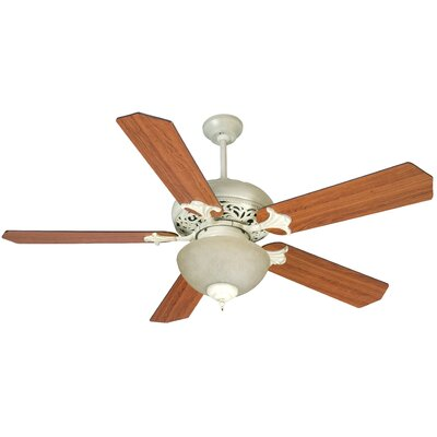 52 Jennings 5 Blade Ceiling Fan Fan Finish with Blade Finish: Antique White with Cherry Blades