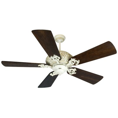 54 Loman 5 Blade Ceiling Fan Fan Finish With Blade Finish: Antique White Distressed with Walnut Blades