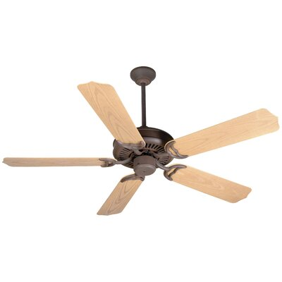 52 Jenkins 5-Blade Ceiling Fan with Downrod Finish: Rustic Iron with Light Oak Blades