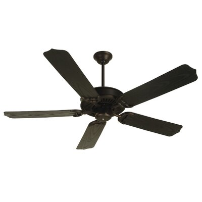 52 Jenkins 5-Blade Ceiling Fan with Downrod Finish: Oiled Bronze with Brown Blades