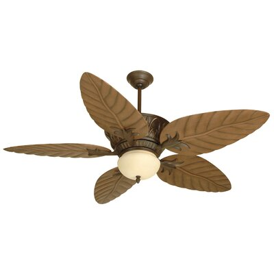 52 Benita 5 Blade LED Ceiling Fan Color: Aged Bronze Textured with Light Oak Blades
