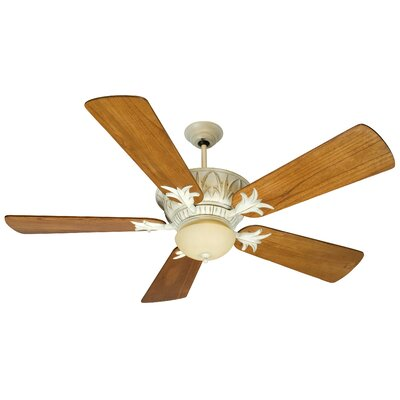 52 Benita 5 Blade Ceiling Fan Finish: Distressed Antique White with Teak Blades