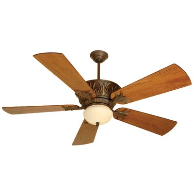52 Benita 5 Blade Ceiling Fan Color: Aged Bronze Textured with Distressed Teak Blades