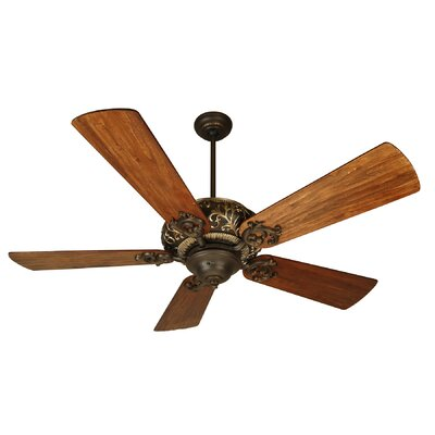 54 Loman 5 Blade Ceiling Fan Fan Finish With Blade Finish: Aged Bronze / Vintage Madera with Teak Blades