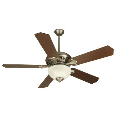 52 Jennings 5 Blade Ceiling Fan Fan Finish with Blade Finish: Pewter with Coffee / Oak Blades