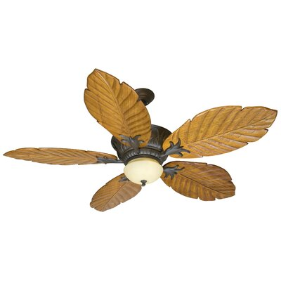 56 Benita 5 Blade Ceiling Fan with Remote Finish: Aged Bronze with Light Oak Blades