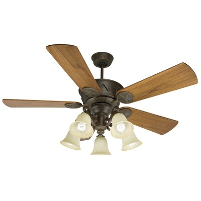54 Osmond 5 Blade LED Ceiling Fan Fan Finish with Blade Finish: Aged Bronze with Teak Blades
