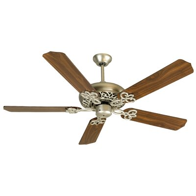 52 Cecilia Unipack 5 Blade Ceiling Fan Fan Finish with Blade Finish: Brushed Nickel with Walnut Blades