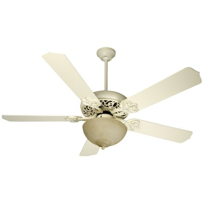 52 Hollingshead 5 Blade Ceiling Fan Fan Finish with Blade Finish: Antique White Distressed with Antique White Blades