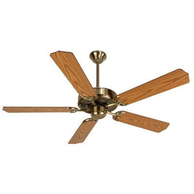 52 Godbold 5-Blade Ceiling Fan Finish: Antique Brass with Light Oak Blades