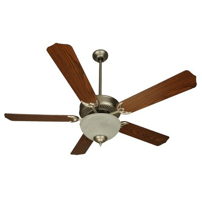 52 CD Unipack 5 Blade Ceiling Fan Fan Finish with Blade Finish: Brushed Nickel with Dark Oak Blades