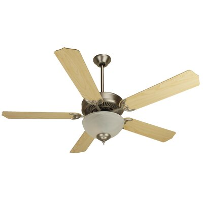52 Palatine 2-Light 5 Blade Ceiling Fan Fan Finish with Blade Finish: Brushed Nickel with Maple Blades