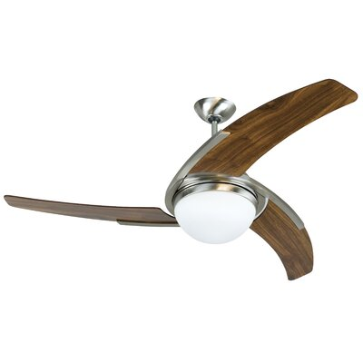 54 Escalera 3 Blade LED Ceiling Fan Fan Finish with Blade Finish: Stainless Steel with Walnut Blades