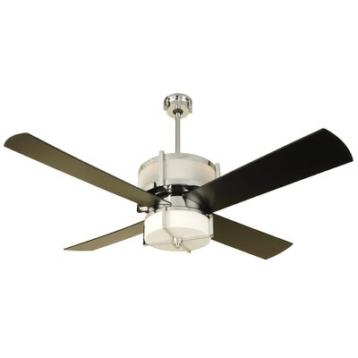 56 Midoro 4 Blade Ceiling Fan Finish: Chrome with Black Blades, Glass Type: White Frost