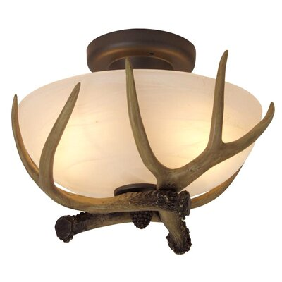 Carmela Antler Bowl 2-Light Semi Flush Mount
