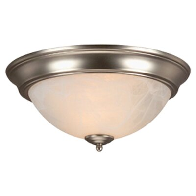 Hymera Arch Pan Alabaster 2 Light Flush Mount Finish: Brushed Nickel, Size: 5.5H x 11W