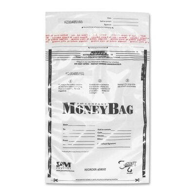 Disposable Deposit Bag, Plastic, 9x12, 100 per Pack, Opaque/Clear Color: Clear