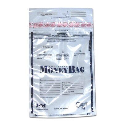 Disposable Deposit Bag, Plastic, 12x16, 100/PK, Clear