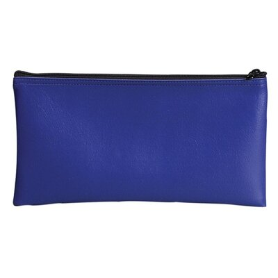 Bank Deposit/Utility Zipper Bag, Cash/Documents, Vinyl, 11 x 6, Blue Color: Blue