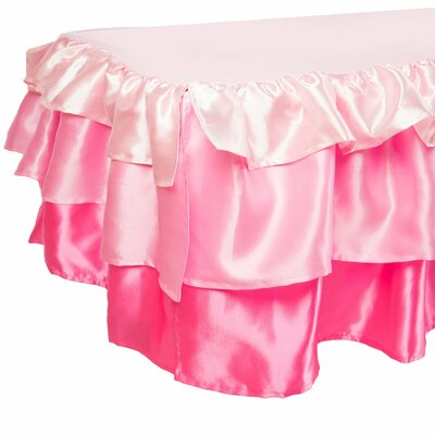 Ruffled Satin Bed Skirt Color: Pink