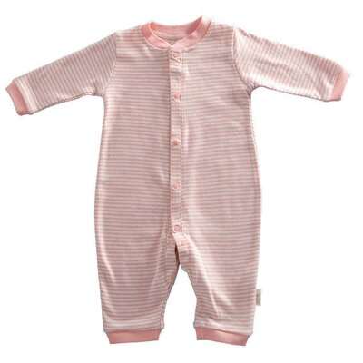 Tadpoles Organic Double Knit Cotton Footless Snap Front Romper in Salmon - Size: 6 - 9 months at Sears.com