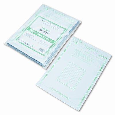 Night Deposit Bags w/Tear-Off Receipt, 10 x 13, Opaque, 100 Bags per Pack