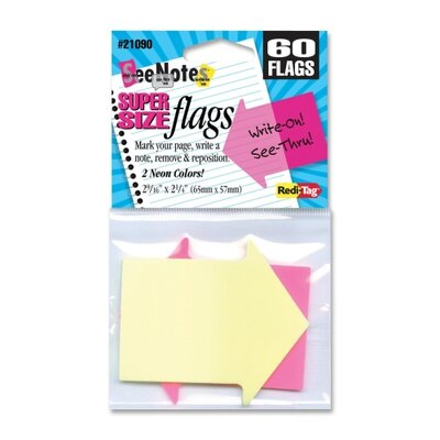 Arrow Flags, Supersize, 2-9/16x2-1/4, 60 per Pack, Neon Yellow/Pink