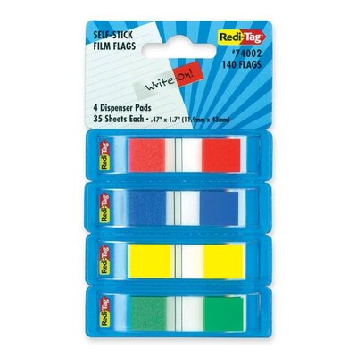 Film Flags, Self-stick, 140 Flags, 2/5x1-7/10, 4 per Pack, Assorted