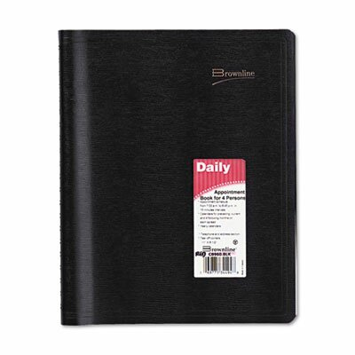 Brownline Essential Collection 4-Person Daily Appointment Book, 8-1/2x11, Black, 2013