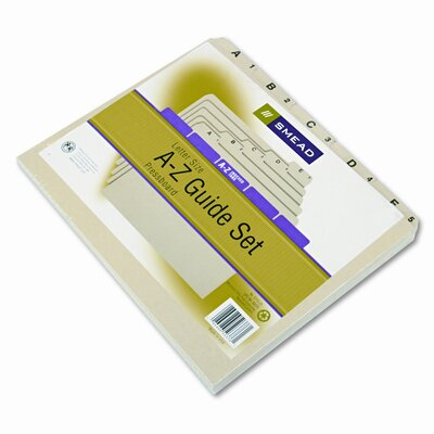 Pressboard Alpha Recycled Top Tab File Guides, 1/5 Tab, 25/Set
