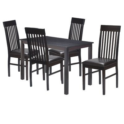 5 Piece Dining Set Finish: Dark Brown