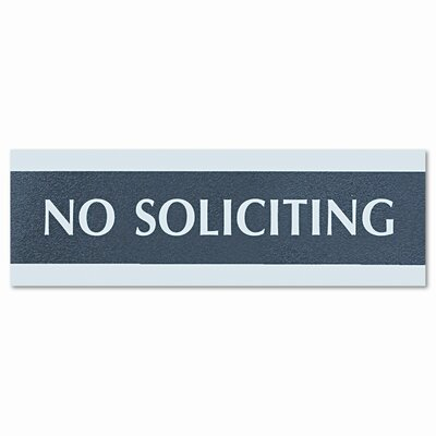 Century Series No Soliciting Sign, 8w x 1/2d x 2h, Black/Silver