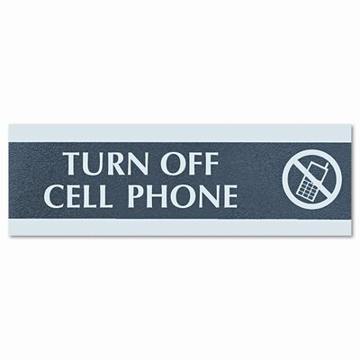 Century Series Cell Phones Must Be Turned Off Sign, 9 x 1/2 x 3, Black/Silver