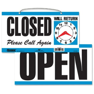 Open/Close Sign,w/ Please Call Again, 11-1/2x6, White/Blue