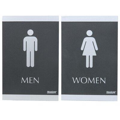 ADA Signs,Men/Women, Adhesive, 6x9, Silver/Black