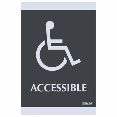 ADA Signs,Accessible, Adhesive, 6x9, Silver/Black