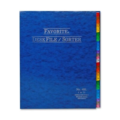 Desk File/Sorter, Indexed 1-31, 12x10, Midnight Blue (Set of 24)