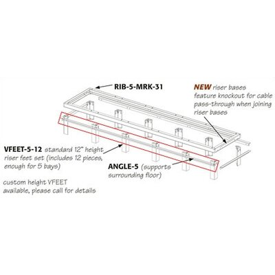 RIB Series Raised Floor Support Angles for Use with RIB-X-MRK-42 Riser Bases Number of Bays: 3