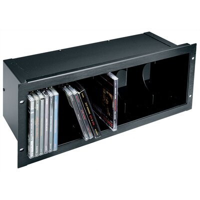 Front-Loading CD Holder Rack Spaces: 40 Compact Discs, Finish: Black Anodized