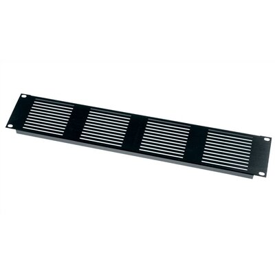 VTP Series Vent Panel, Slotted Design Panel Height: 1 3/4 (1U space), Finish: Black Brushed Anodized