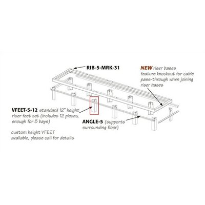 RIB Series Raised Floor Riser Feet Number of Bays: 1