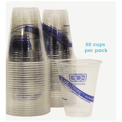 Bluestripe Recycled Content Cold Drink Cups, 12 Oz, 50/Pack ECOEPCR12PK