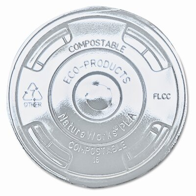 Compostable Cold Drink Cup Lids, Flat, 1000/Carton ECOEPFLCC
