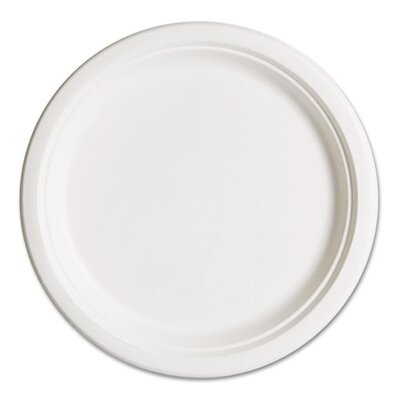 "Compostable Sugarcane Dinnerware, 10"" Plate, 50/Pack"