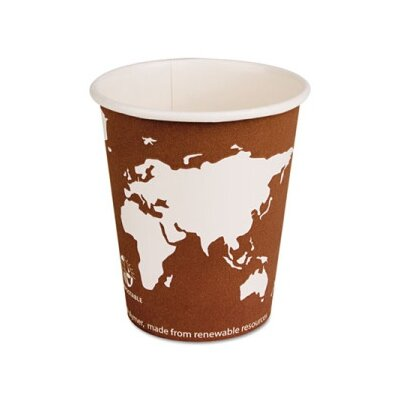 World Art Renewable Resource Compostable Hot Drink Cups, 10 Oz, 50/Pack ECOEPBHC10WAPK