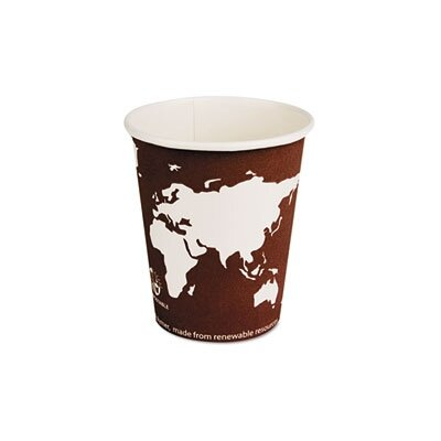 World Art Renewable Resource Compostable Hot Drink Cups, 8 Oz, 50/Pack ECOEPBHC8WAPK