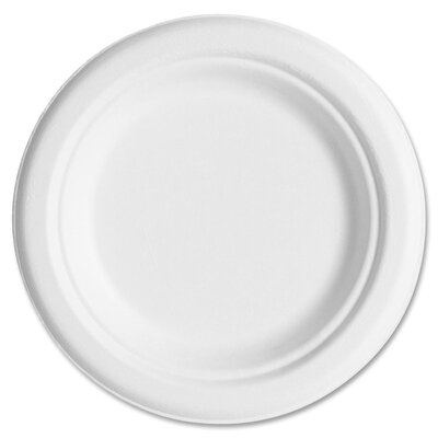 "Compostable Sugarcane Dinnerware, 9"" Plate, Natural White, 50/Pack"