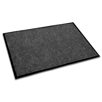 Hastings Rectangular Indoor Ribbed Entrance Doormat Size: Rectangle 4 x 3, Color: Charcoal