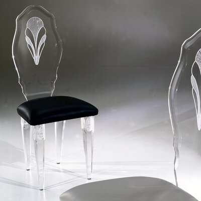 Palace Acrylic Side Chair Upholstery: Brown