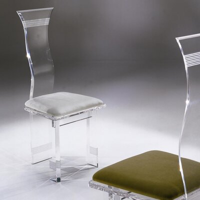 Symphony Lines Acrylic Side Chair Upholstery: Navy